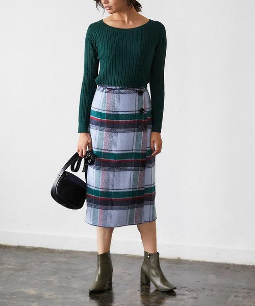 [tocco closet] ウール混ラップボタンタイトスカート