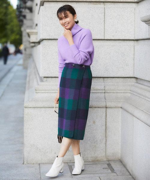 [tocco closet] ハンドメイド無地×チェック柄リバーシブルウールスカート