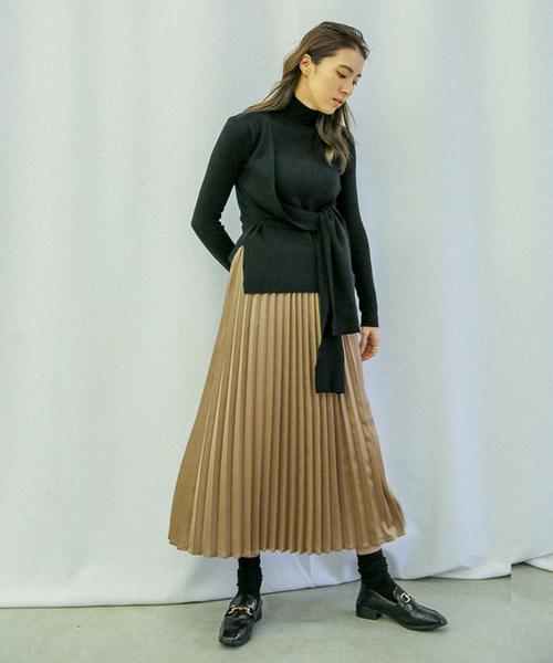 27[select MOCA] サテンプリーツスカート/スモーキーカラーAラインウエストゴムロングスカート
