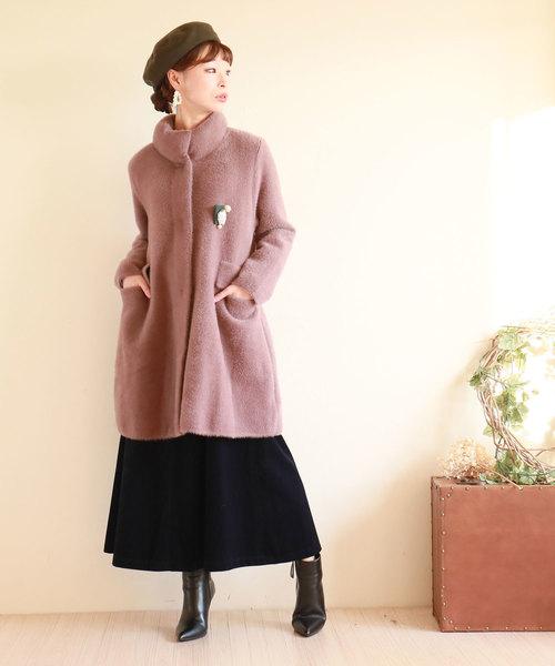 [Sawa a la mode] ブローチ付きベイクドカラー上品コート