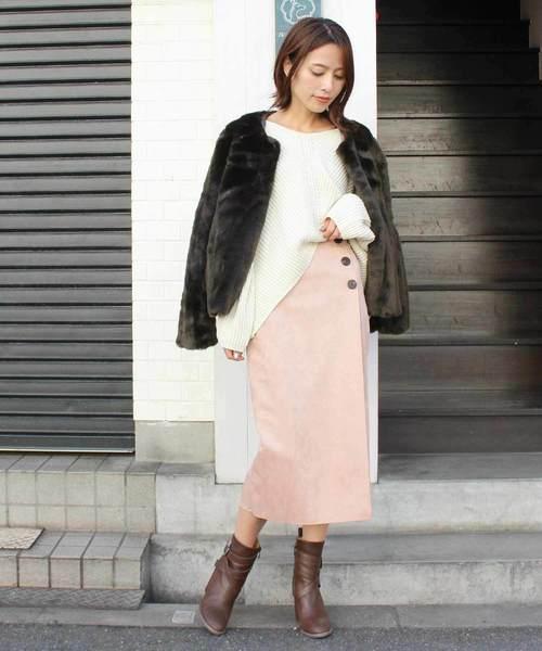 12[MODE ROBE] スウェードボタンスカート