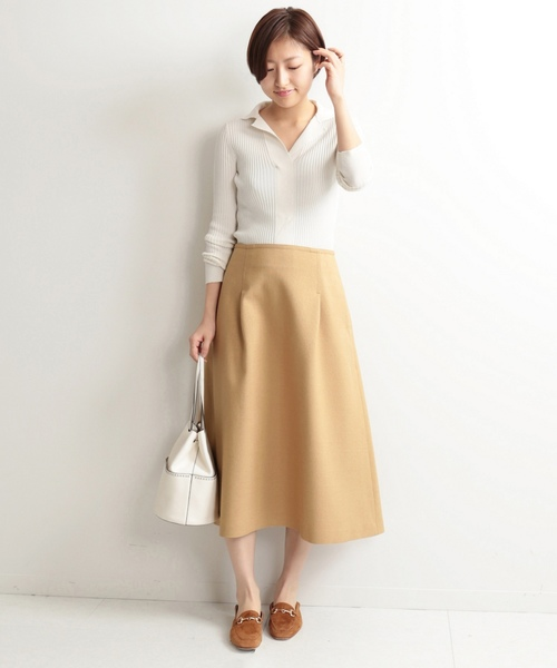 3[IENA] TAボンディングタックトラペーズスカート◆