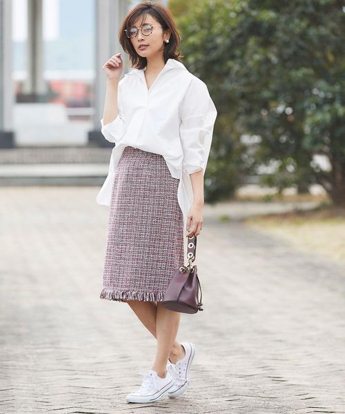 [tocco closet] ツイードフリンジタイトスカート