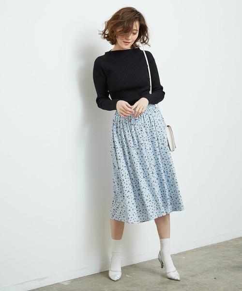 [ROPE' PICNIC] 花柄ギャザースカート