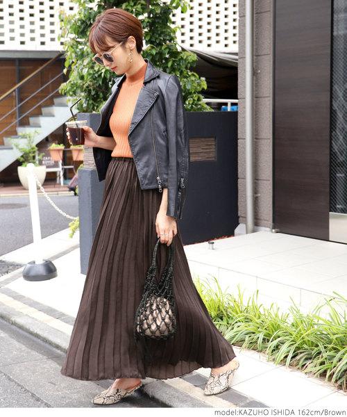 [coca] マキシ丈サテンプリーツスカート