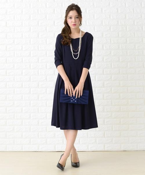 [Lace Ladies] 七分袖フレアワンピース・ドレス