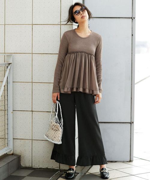 [Ranan] 裾フリルワイドパンツ