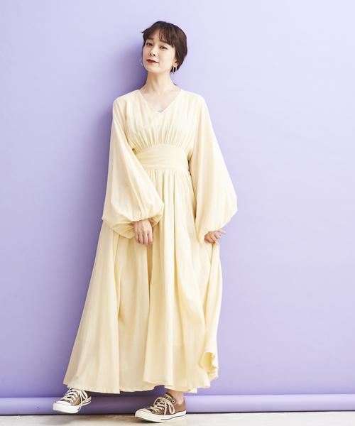 [A.I.C] 40Sガーゼ・フレアONE PIECE DRESS
