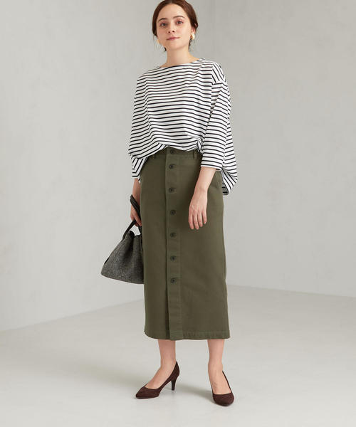 [green label relaxing] SC コットン チノ フロント ボタン スカート