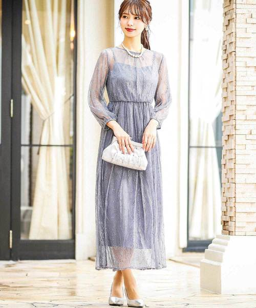 [Fashion Letter] 総チュールレースドレス/結婚式・お呼ばれワンピース・パーティードレス