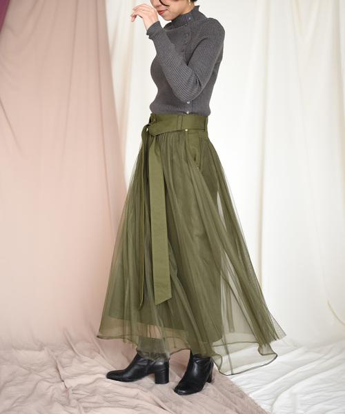 [Eimee Law & WASH] 【Eimee Law】チュールレイヤードフレアスカート