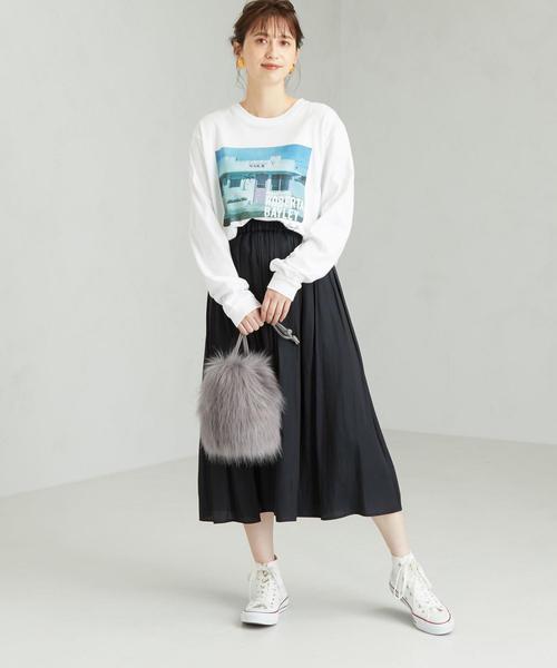 [green label relaxing] CFC サテン ギャザー スカート ※