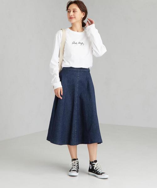 [green label relaxing] [別注 サムシング] SC SOMETHING×GLR デニム フレア スカート