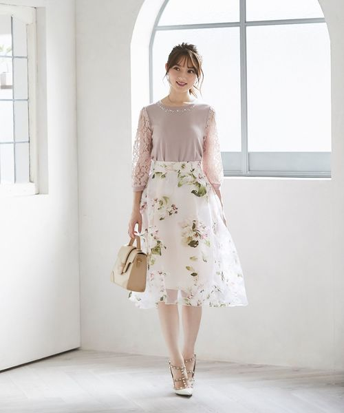 [tocco closet] フラワープリントフレアスカート
