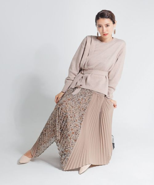[LADYMADE] Vintage Like ドッキングプリーツスカート