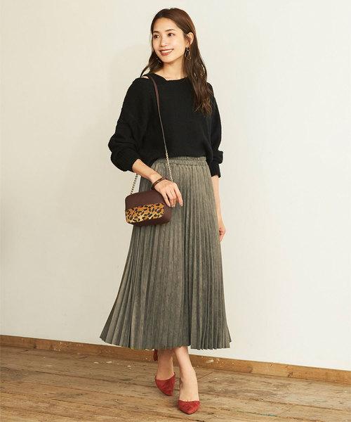[titivate] フェイクスエードアコーディオンプリーツスカート