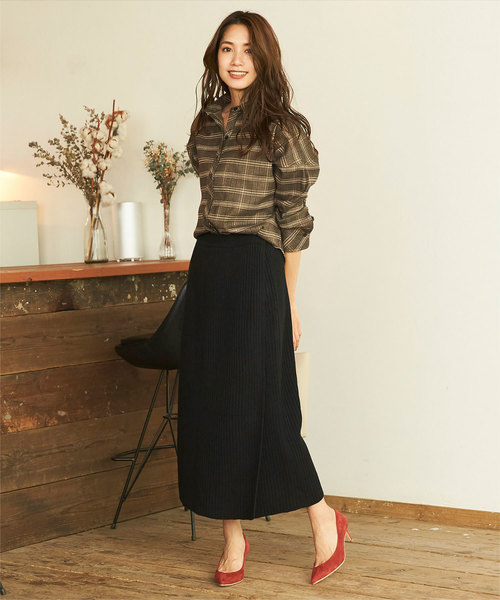[titivate] ラップロングニットスカート