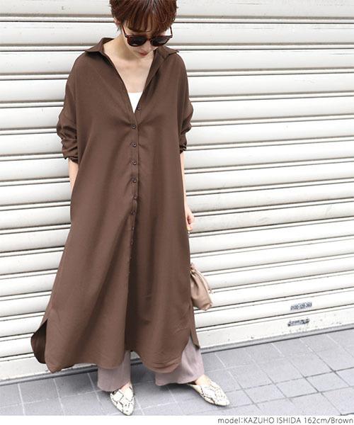 [coca] ロング丈シンプルデザインシャツワンピース