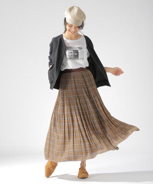 [BAYFLOW] チェックプリーツスカート