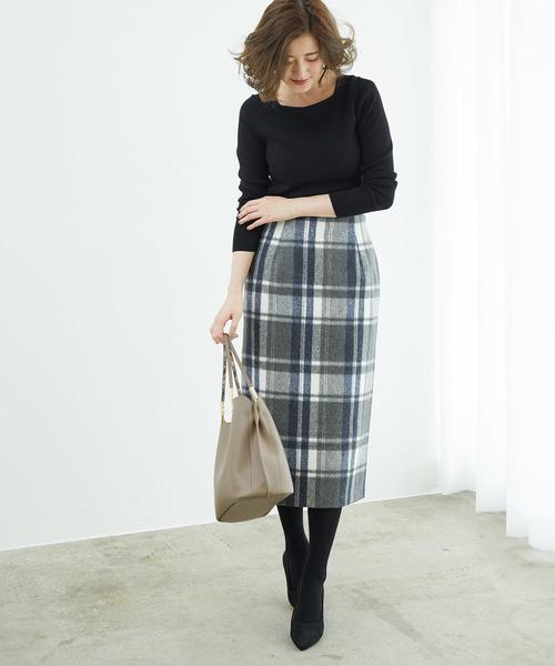 [ROPE' PICNIC] 【WEB限定:着丈が選べる】ビッグチェックアイラインスカート