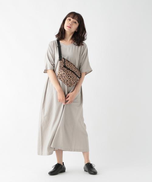 [studio CLIP] リネンレーヨン半袖サックワンピース