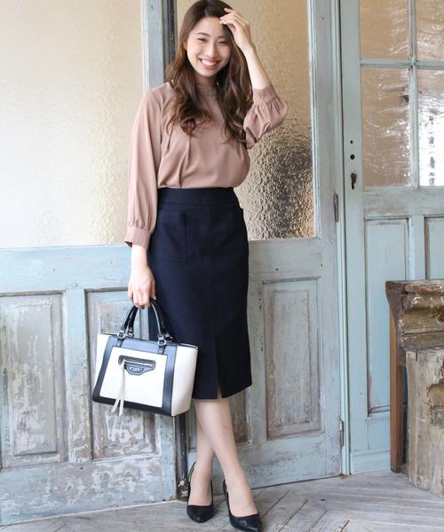 1[ASTORIA ODIER] (日本製)ウールライク ポケット付タイトスカート