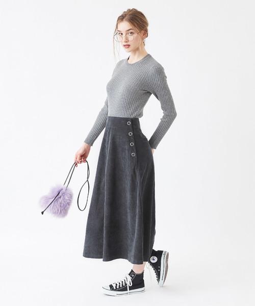 [titivate] サイドボタンコーデュロイスカート