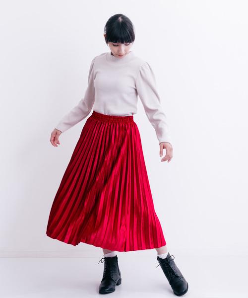 [merlot] ベロアプリーツミディスカート1159