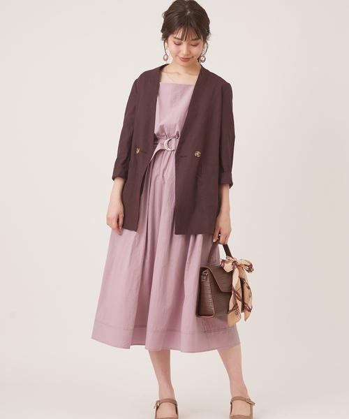 [natural couture] スカーフ&共ベルト付き前後2WAYワンピ2