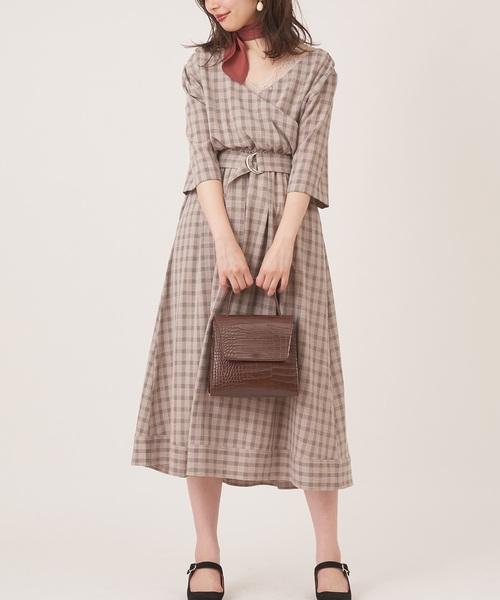 [natural couture] スカーフ&共ベルト付き前後2WAYワンピ