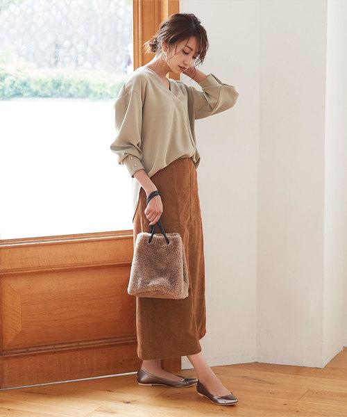 [titivate] コーデュロイAラインスカート