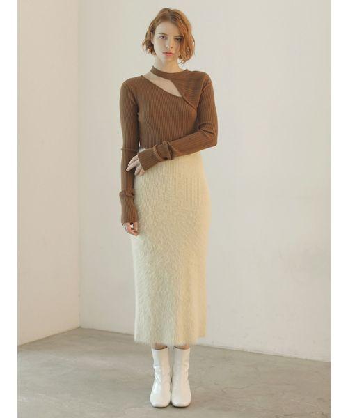 [LAGUNAMOON] シャギーニットタイトスカート