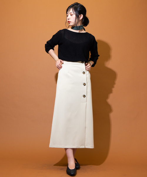 [YARD PLUS/AUNT MARIE'S] AUNT MARIE'S フロントボタンT/Rタイトロングスカート