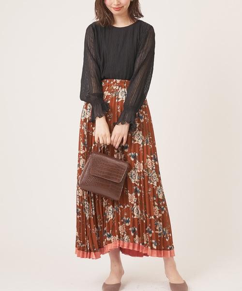 [natural couture] レトロ花柄プリーツスカート