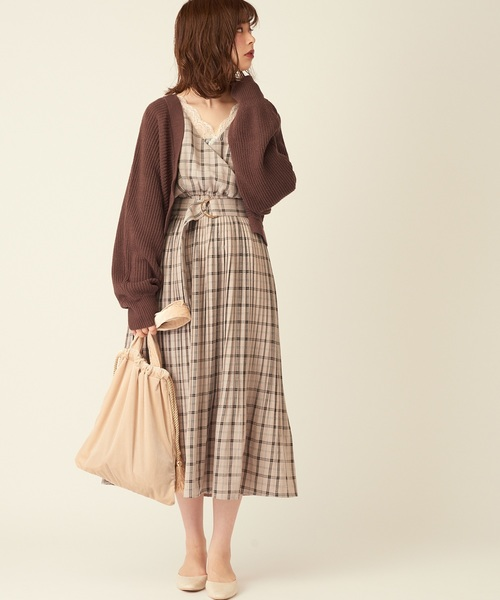 [natural couture] NEWカシュクールプリーツ2WAYワンピース