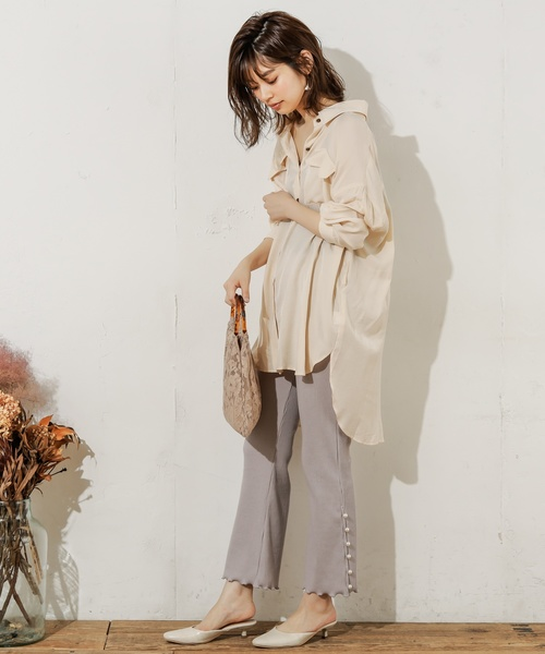[natural couture] パールスリットリブパンツ