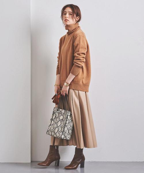 茶色ブーツでトレンドニュアンスカラーコーデ