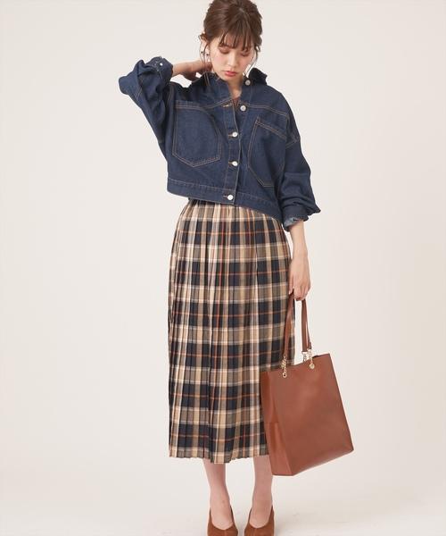 [natural couture] ブリティッシュチェックプリーツスカート