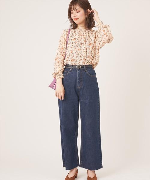 [natural couture] ベルト付き長さ変えられるデニムパンツ
