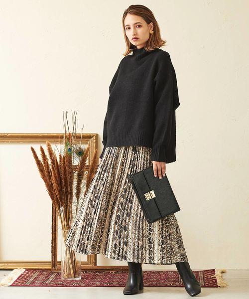 [Lian] パイソン柄プリーツスカート