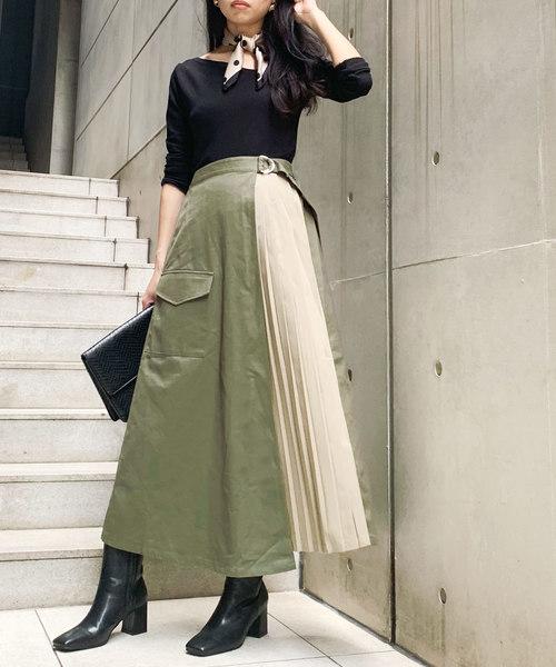 [Lian] ツイルラッププリーツスカート