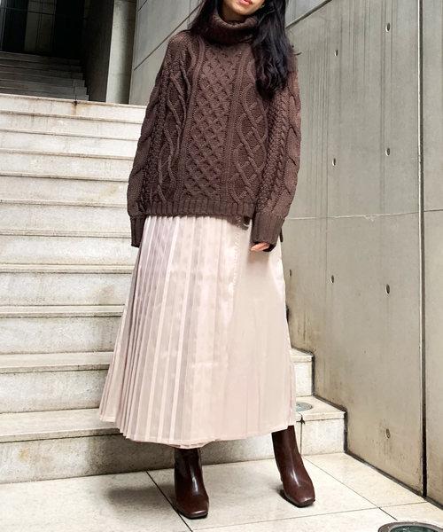 21[Lian] サテンタッチラッププリーツスカート