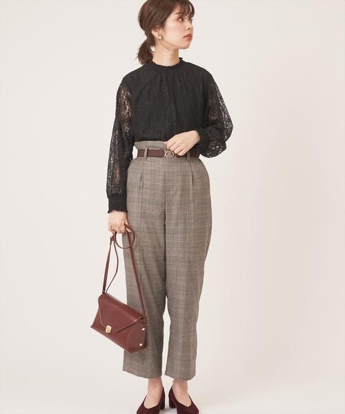 [natural couture] おしゃれゴムベルト付きワイドパンツ
