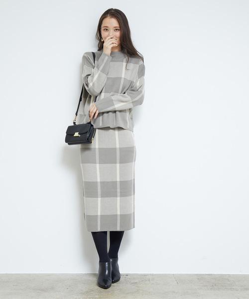 [ROPE' PICNIC] 【WEB限定】【セットアップ対応】チェックジャガードスカート