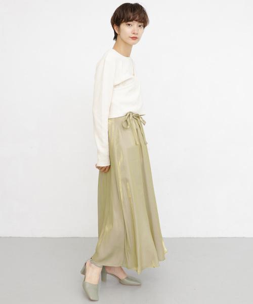 1[KBF] ウエストリボンメタリックスカート