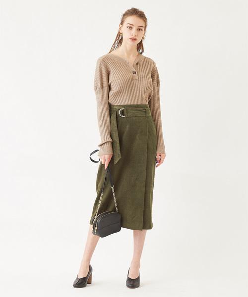 [titivate] コーデュロイフェイクラップスカート
