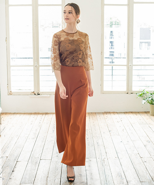 [GIRL] レースブラウス&ワイドパンツのセットアップ結婚式パンツドレス・お呼ばれパーティードレス
