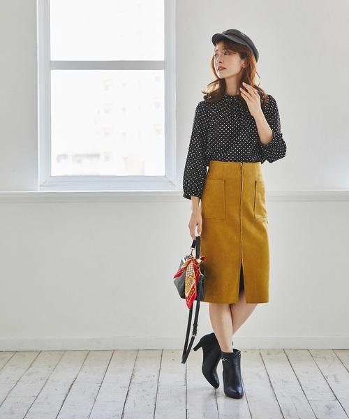 [12Twelve Agenda] フェイクスエード両ポケタイトスカート