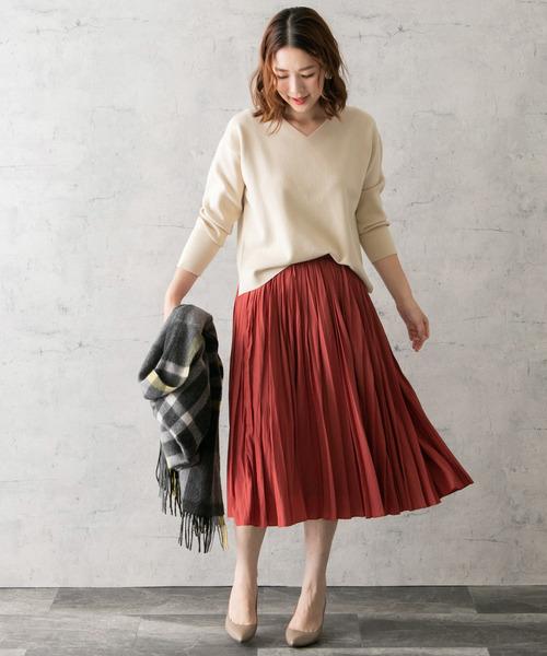 [URBAN RESEARCH ROSSO WOMEN] ヴィンテージサテンプリーツスカート