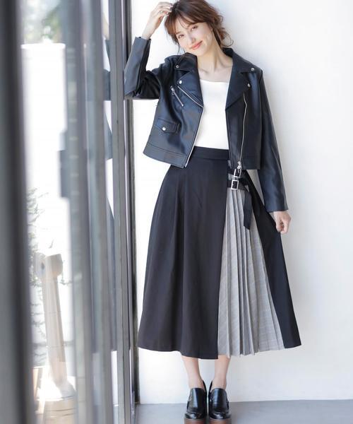 [INGNI] サイドベルトチェック柄プリーツ切替/スカート